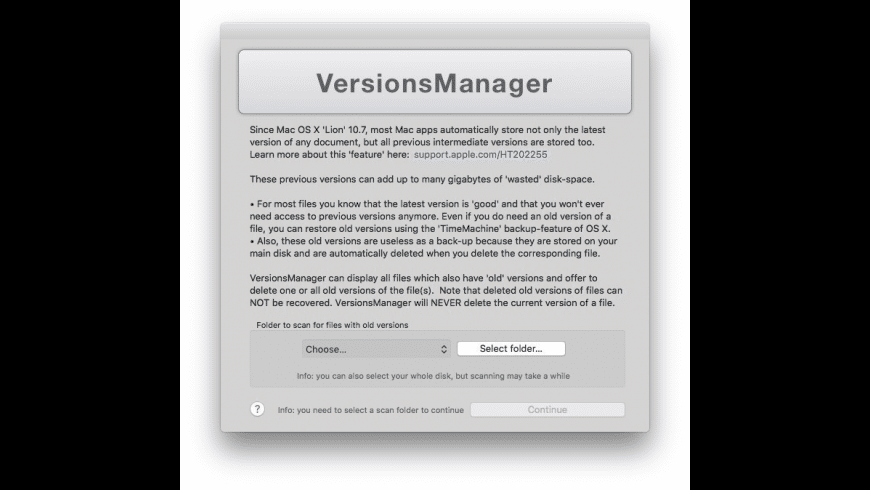 VersionsManager for Mac - review, screenshots