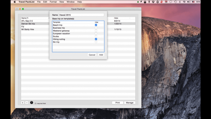 Travel PackList for Mac - review, screenshots