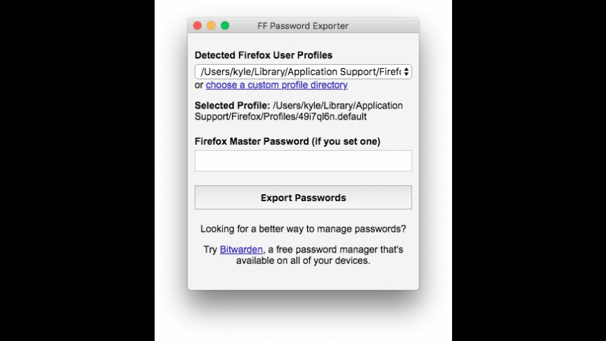 FF Password Exporter for Mac - review, screenshots
