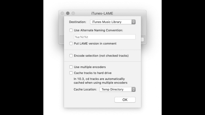 iTunes-LAME Encoder for Mac - review, screenshots