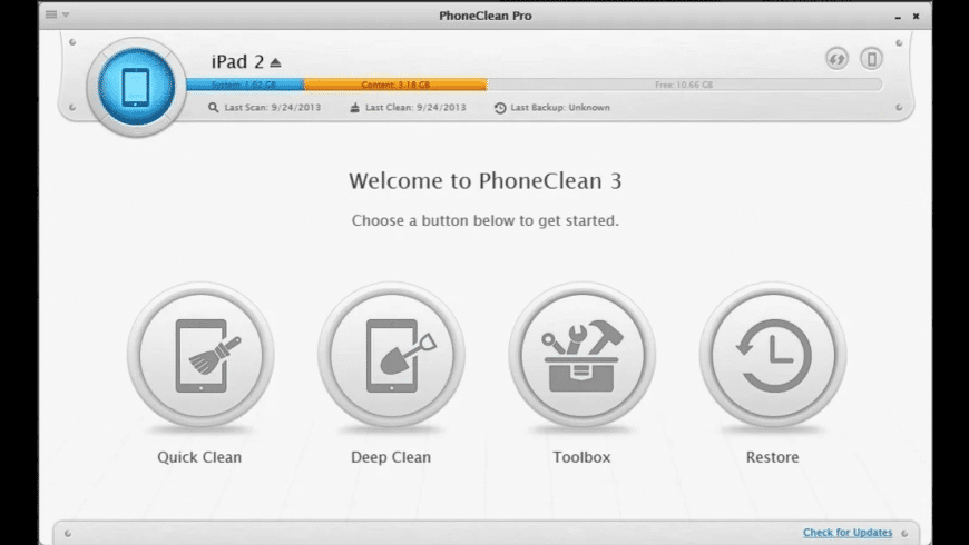 PhoneClean for Mac - review, screenshots
