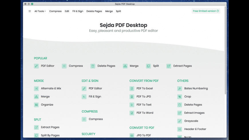 Sejda PDF Desktop for Mac - review, screenshots
