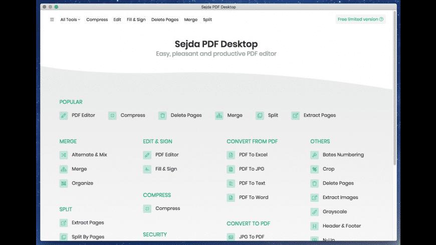 Sejda PDF Desktop for Mac - review, screenshots