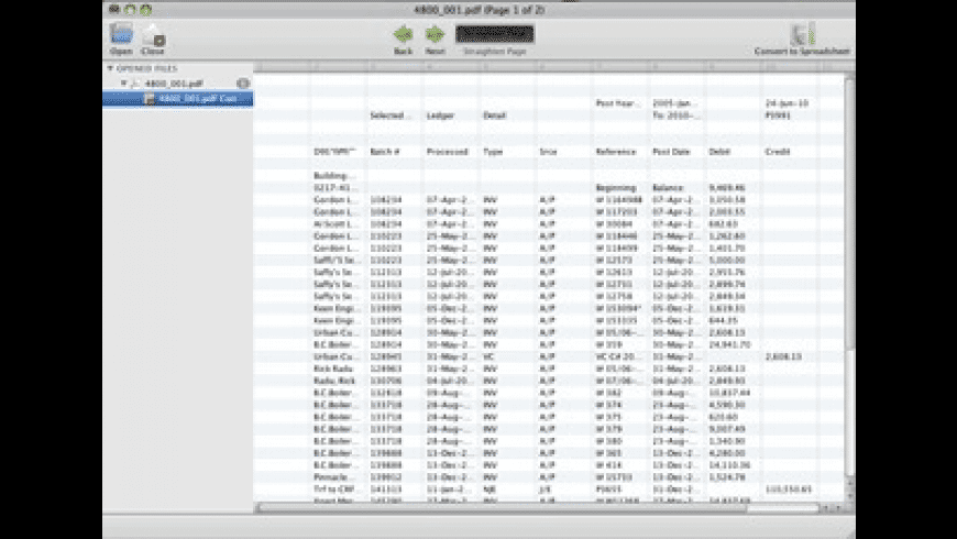 PDF to Spreadsheet Lite for Mac - review, screenshots
