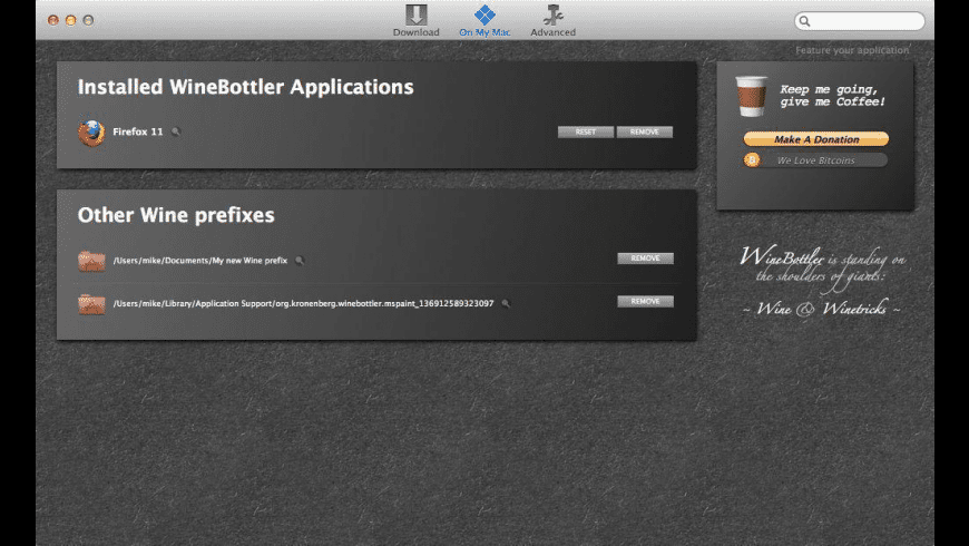 WineBottler for Mac - review, screenshots