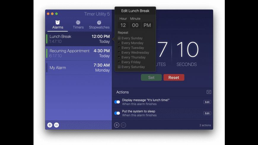 Timer Utility for Mac - review, screenshots