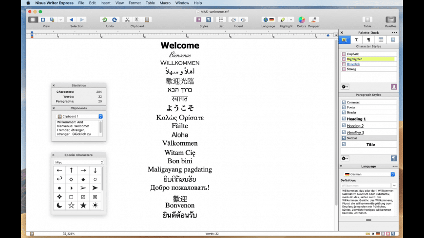 Nisus Writer Express for Mac - review, screenshots