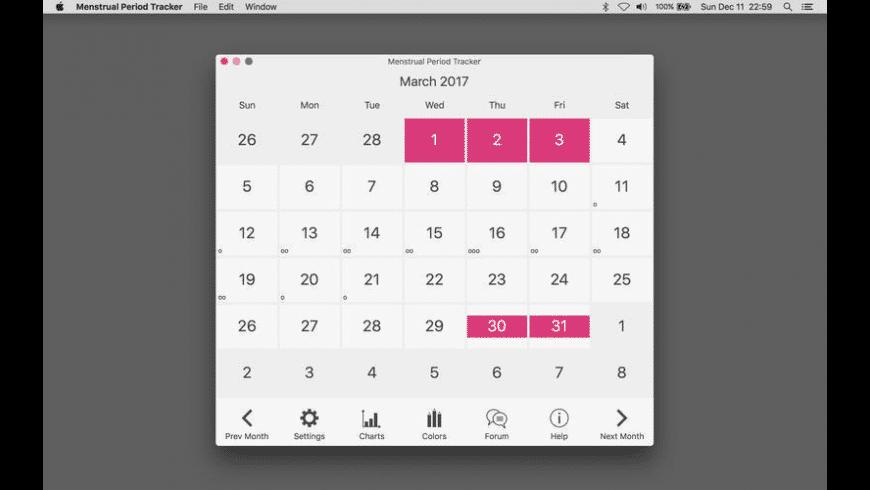 Menstrual Period Tracker for Mac - review, screenshots