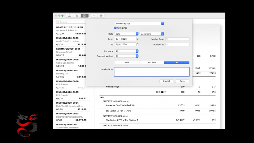 Dragon Invoice for Mac - review, screenshots