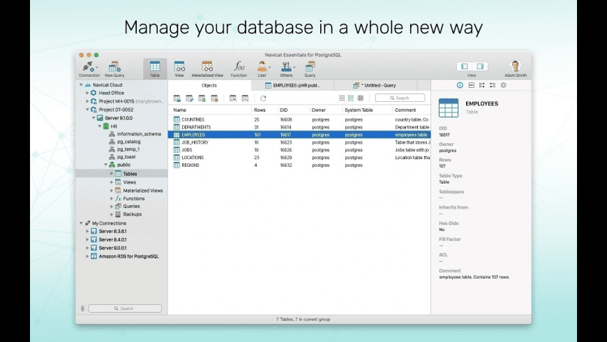 Navicat Essentials for PostgreSQL for Mac - review, screenshots