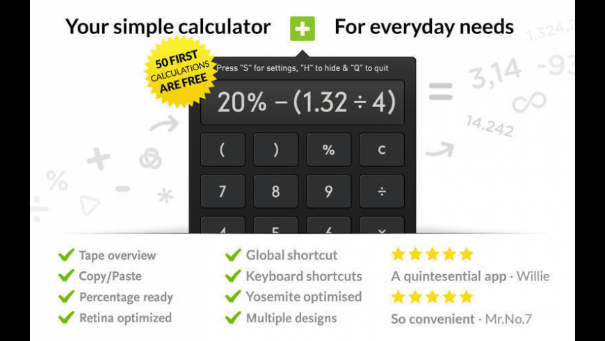 Calculator for Mac - review, screenshots