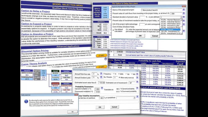 Real Options Valuation for Mac - review, screenshots