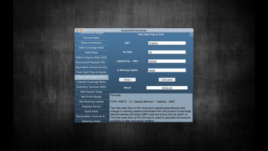 CorporateFinanceCalc for Mac - review, screenshots