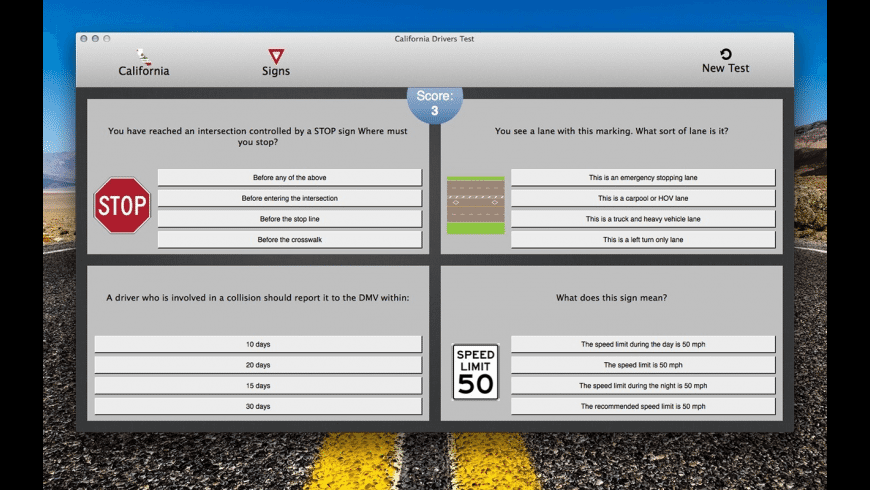 California Drivers Test for Mac - review, screenshots