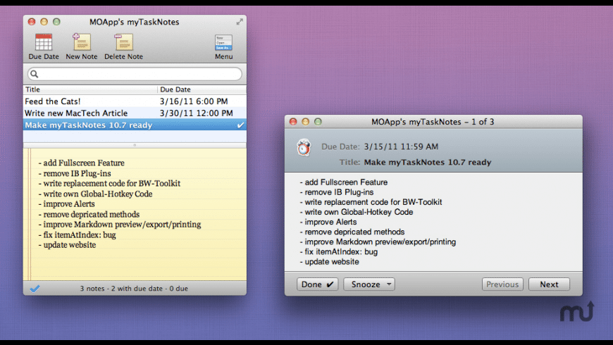 TaskNotes for Mac - review, screenshots