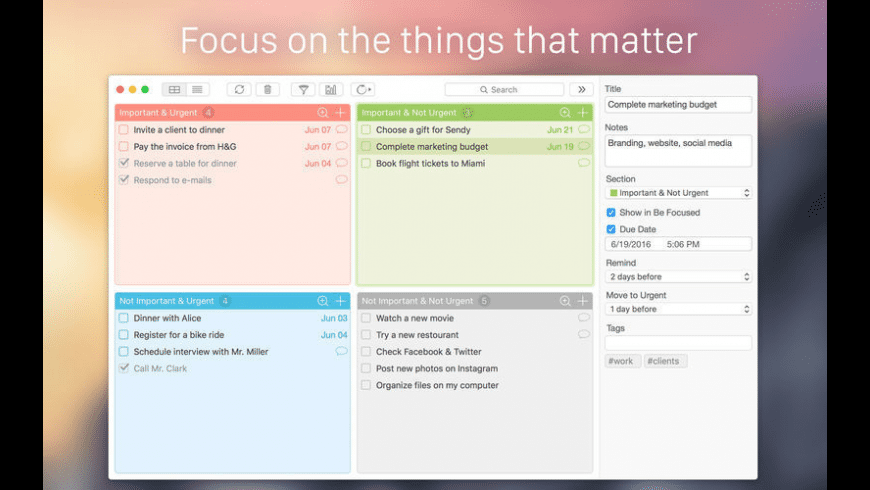 Focus Matrix for Mac - review, screenshots