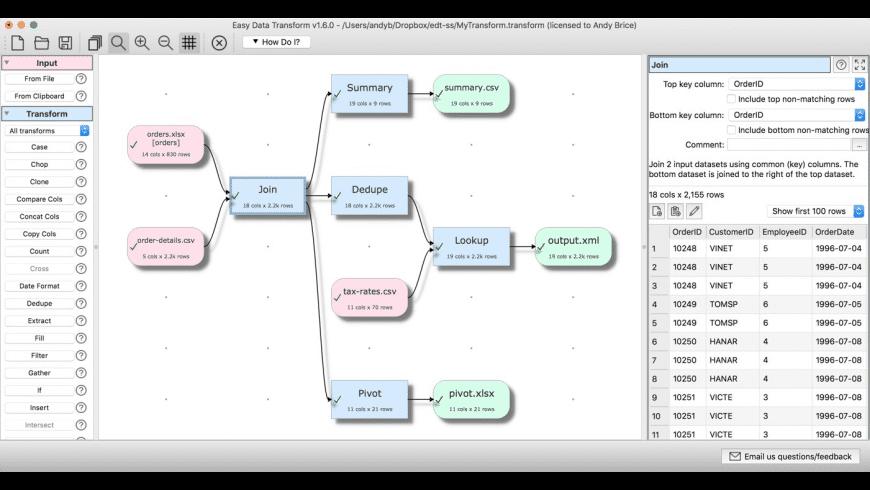 Easy Data Transform for Mac - review, screenshots