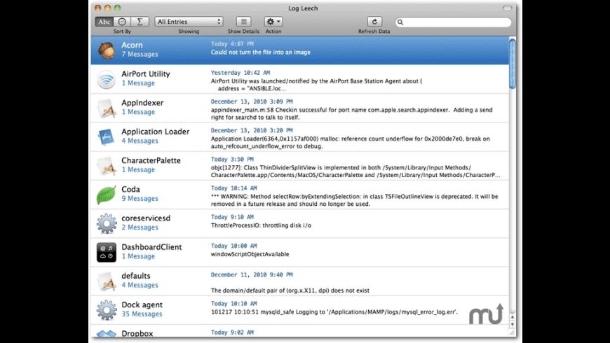 Log Leech for Mac - review, screenshots