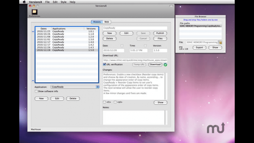 VersionsX for Mac - review, screenshots