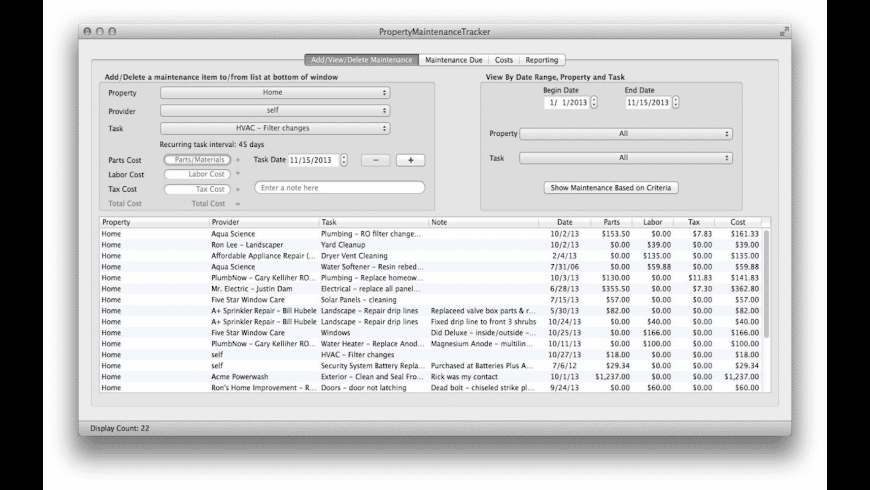 PropertyMaintenanceTracker for Mac - review, screenshots