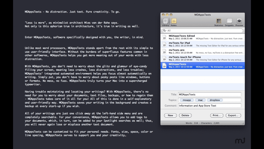 MOAppsTexts for Mac - review, screenshots