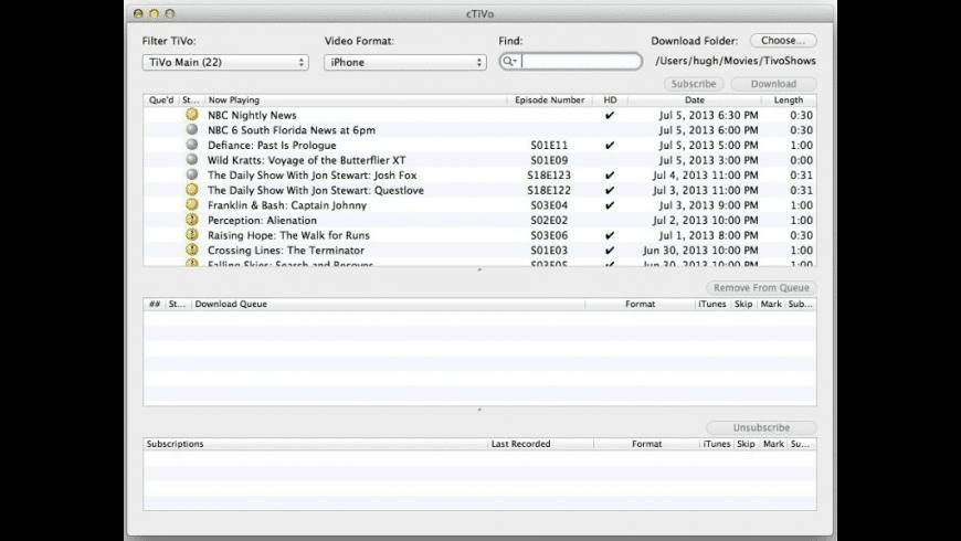 cTiVo for Mac - review, screenshots