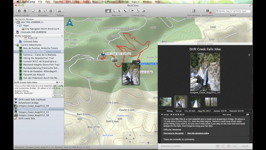 Garmin BaseCamp for Mac - review, screenshots