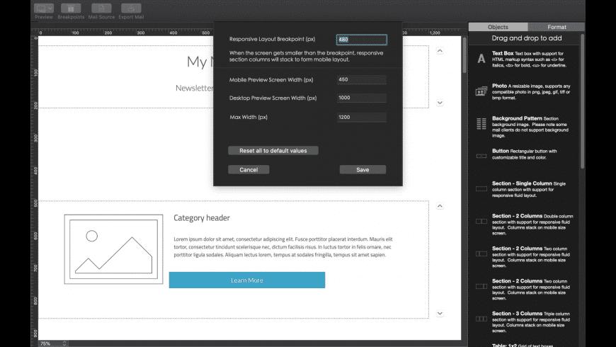Dragon Email Designer 3 for Mac - review, screenshots