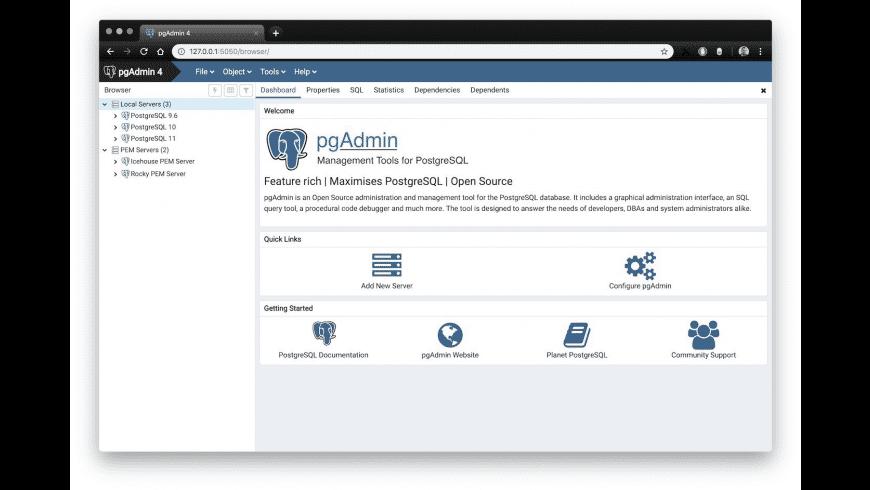 pgAdmin 4 for Mac - review, screenshots