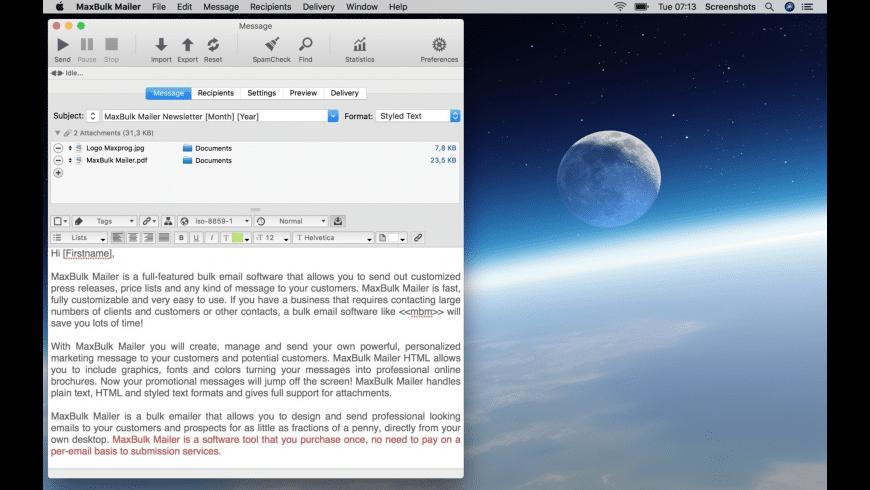 MaxBulk Mailer for Mac - review, screenshots