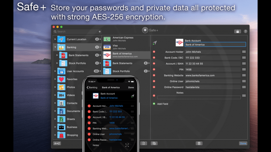 Safe +  Password Manager for Mac - review, screenshots