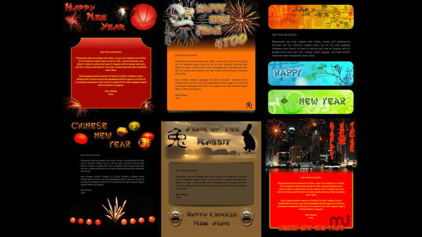 Chinese New Year 4709 Stationery Pack for Mac - review, screenshots