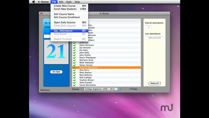 K-Roster for Mac - review, screenshots