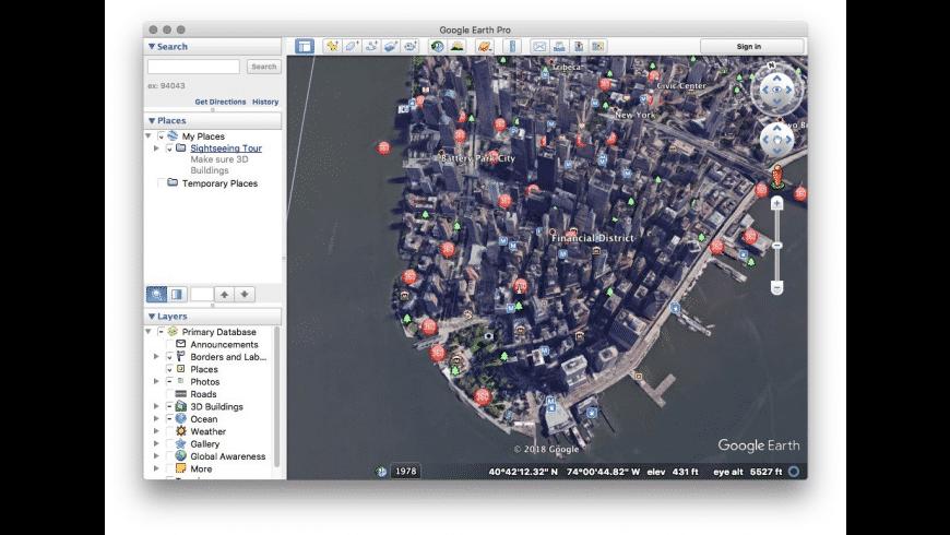 Google Earth Pro for Mac - review, screenshots
