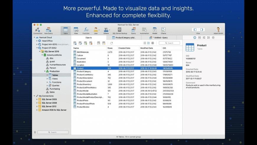 Navicat for SQL Server for Mac - review, screenshots