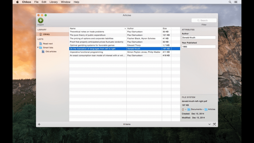 Chikoo for Mac - review, screenshots