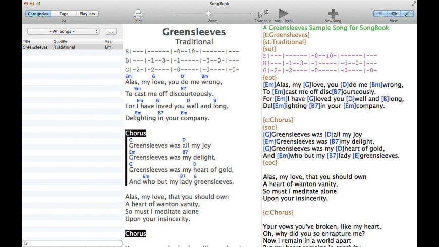 SongBook for Mac - review, screenshots