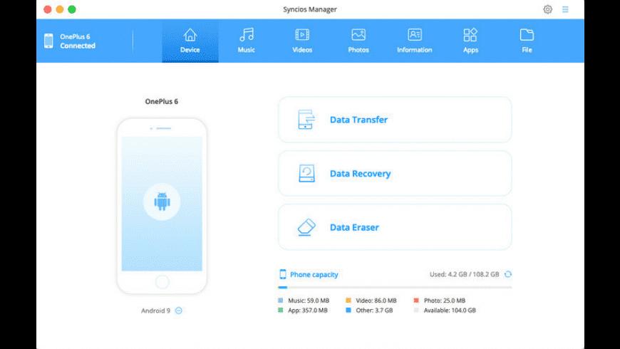 Syncios for Mac - review, screenshots