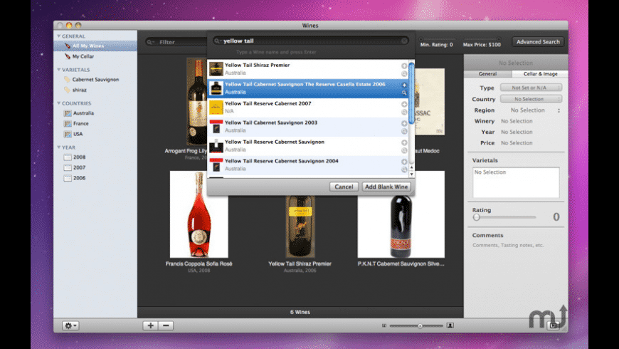 Wines for Mac - review, screenshots