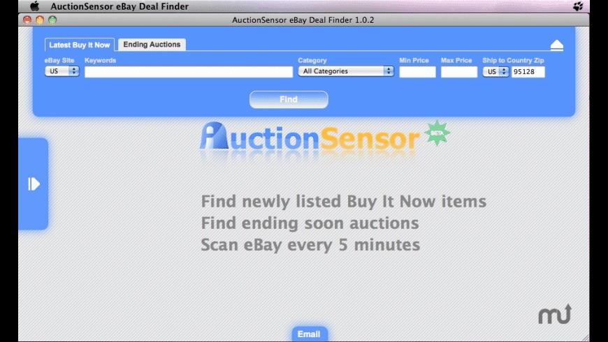 AuctionSensor eBay Deal Search Tool for Mac - review, screenshots