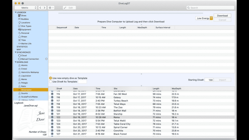 DiveLogDT for Mac - review, screenshots