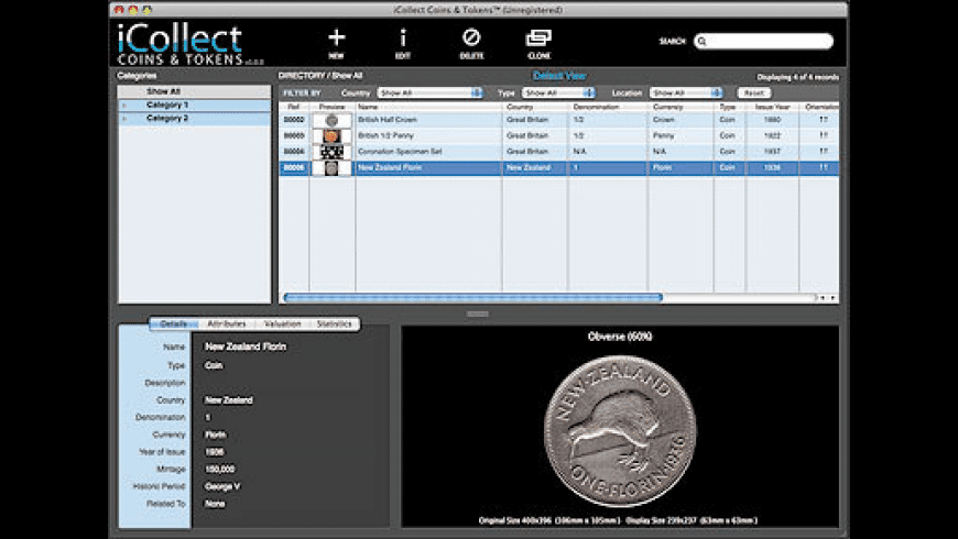 iCollect Coins & Tokens for Mac - review, screenshots