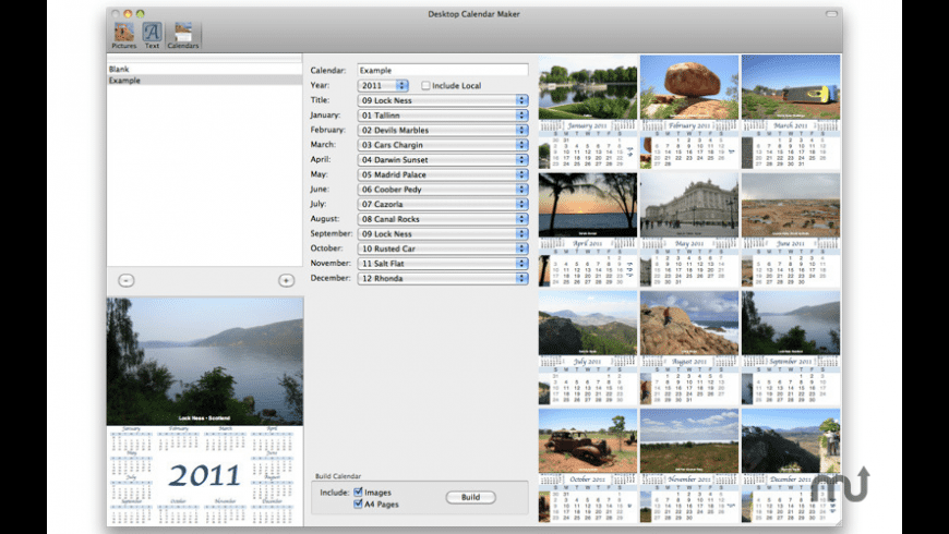 Desktop Calendar Maker for Mac - review, screenshots