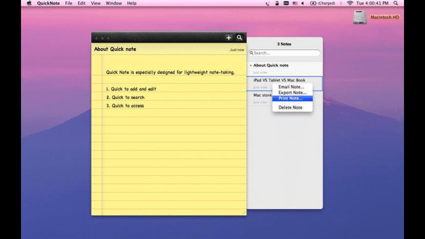 Quick Note for Mac - review, screenshots