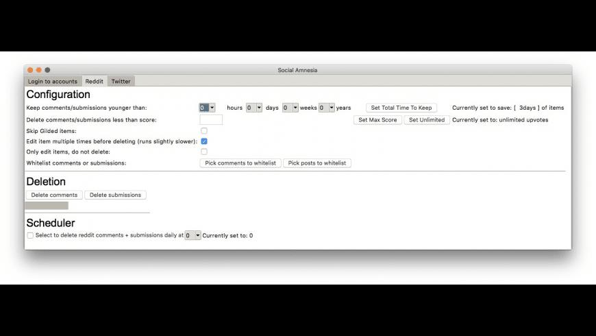 Social Amnesia for Mac - review, screenshots