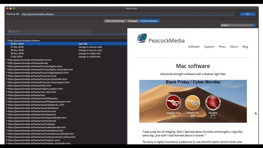 Website Watchman for Mac - review, screenshots