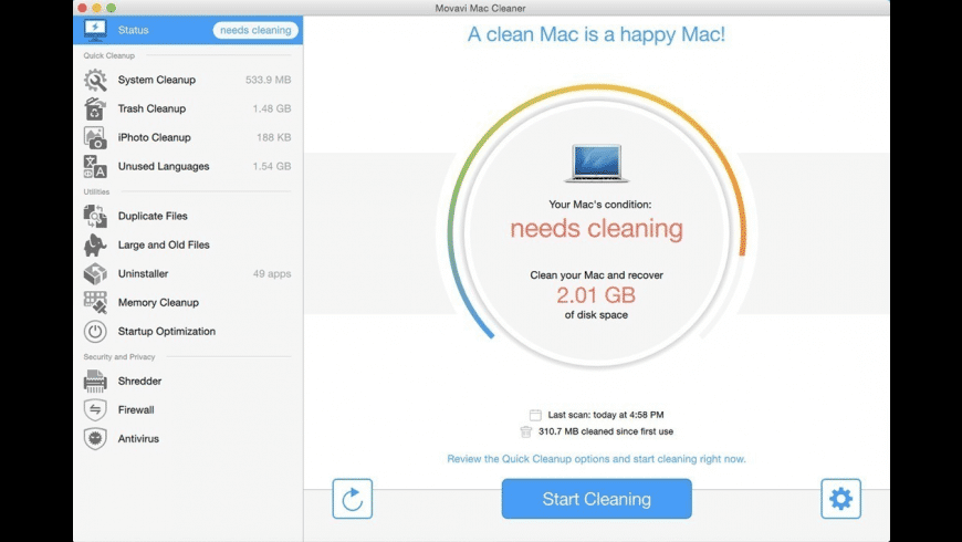 Movavi Cleaner for Mac - review, screenshots