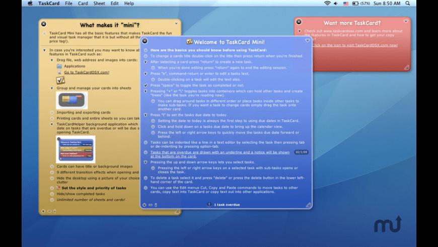 TaskCard Mini for Mac - review, screenshots