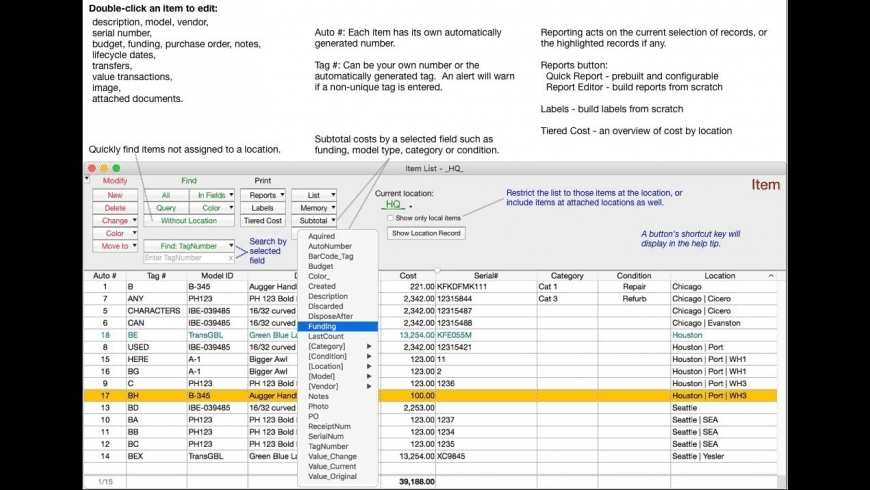 Capital Asset Inventory Tracker for Mac - review, screenshots