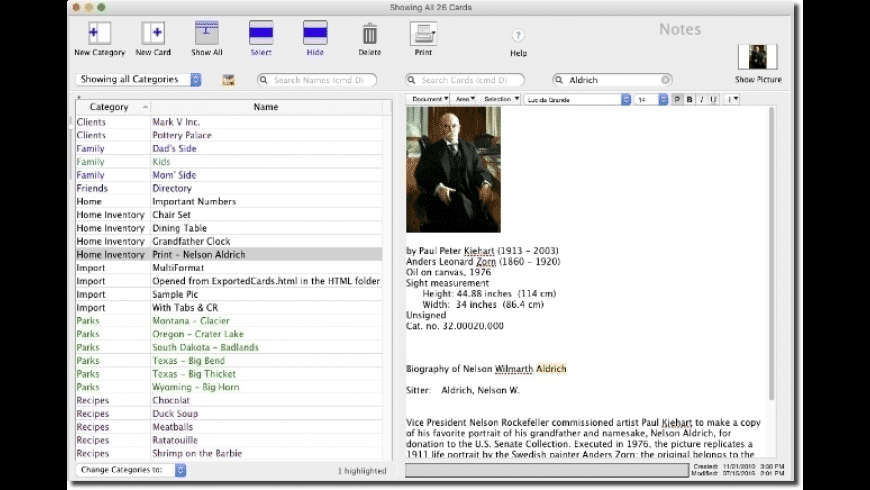 EasyCardFile for Mac - review, screenshots
